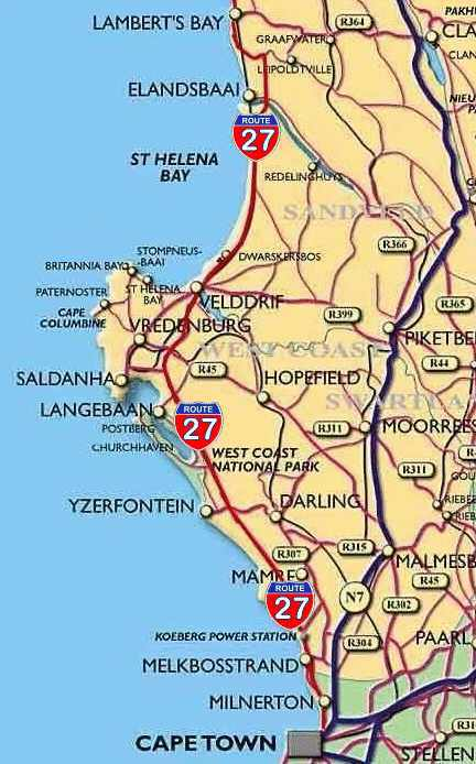 Map of Route 27, the R27, Cape West Coast South Africa